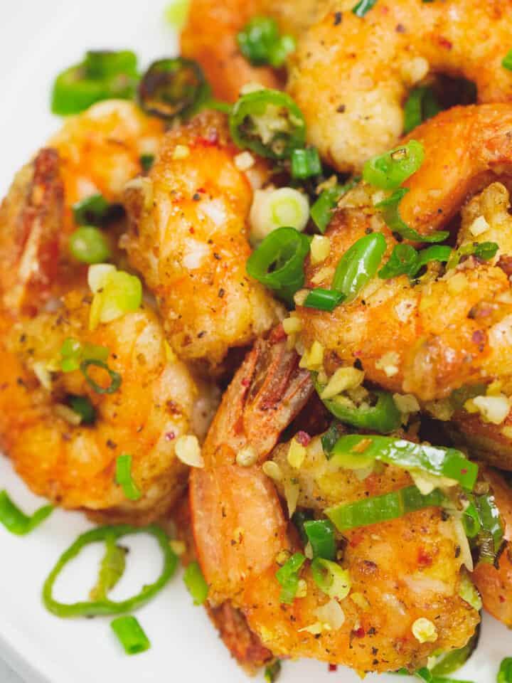 Salt and pepper shrimp on a plate