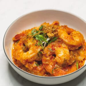 Asian Chili Garlic Shrimp on a serving plate