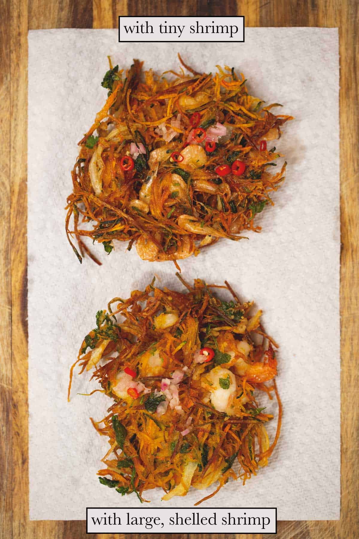 top view of two fried ukoys, one with tiny shrimp and the other with large, shelled shrimp