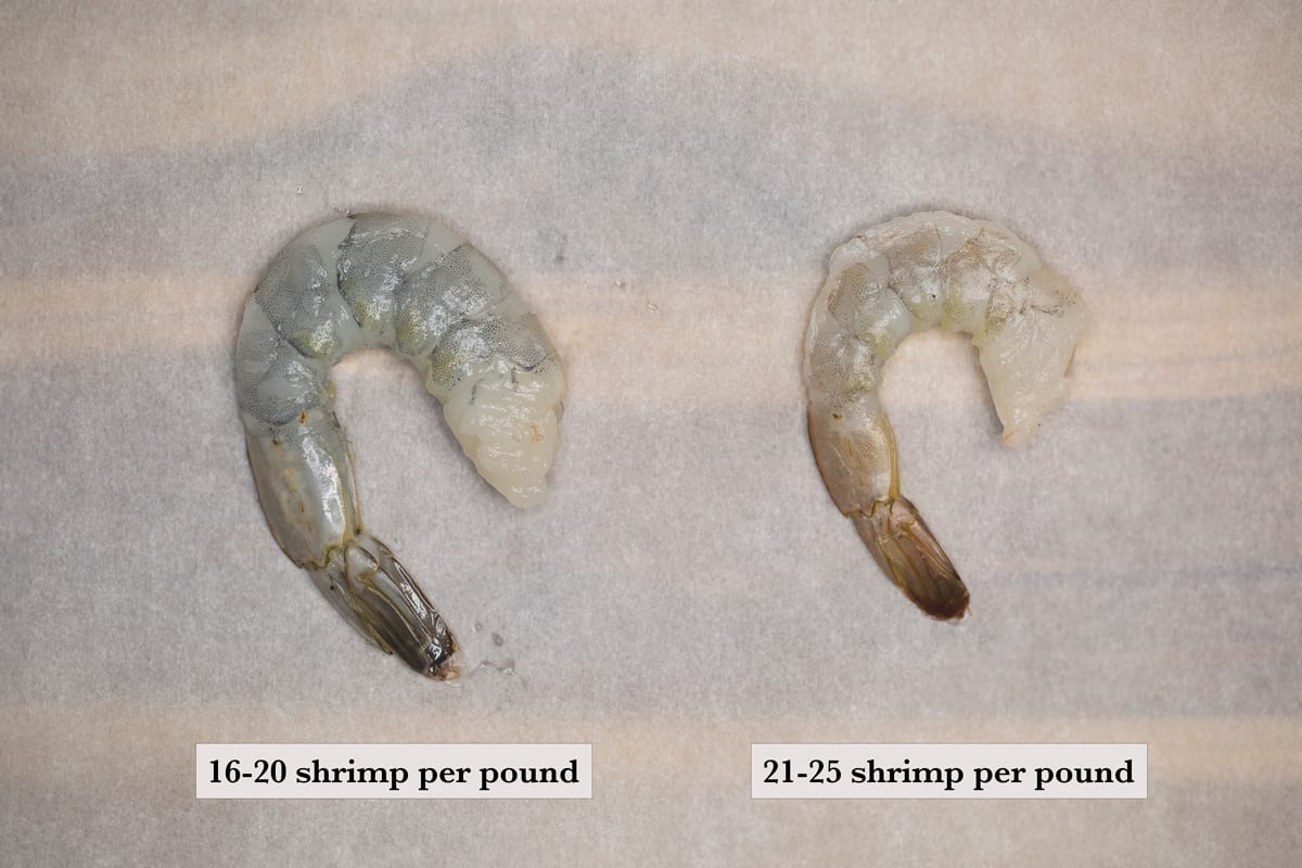 extra jumbo shrimp 16 to 20 count per pound and jumbo shrimp 20 to 25 count per pound both peeled, with tails on