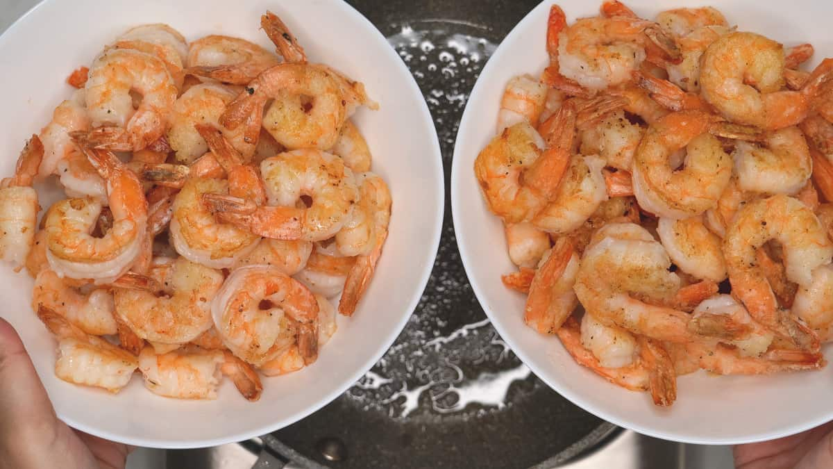 seared shrimp in two white bowls