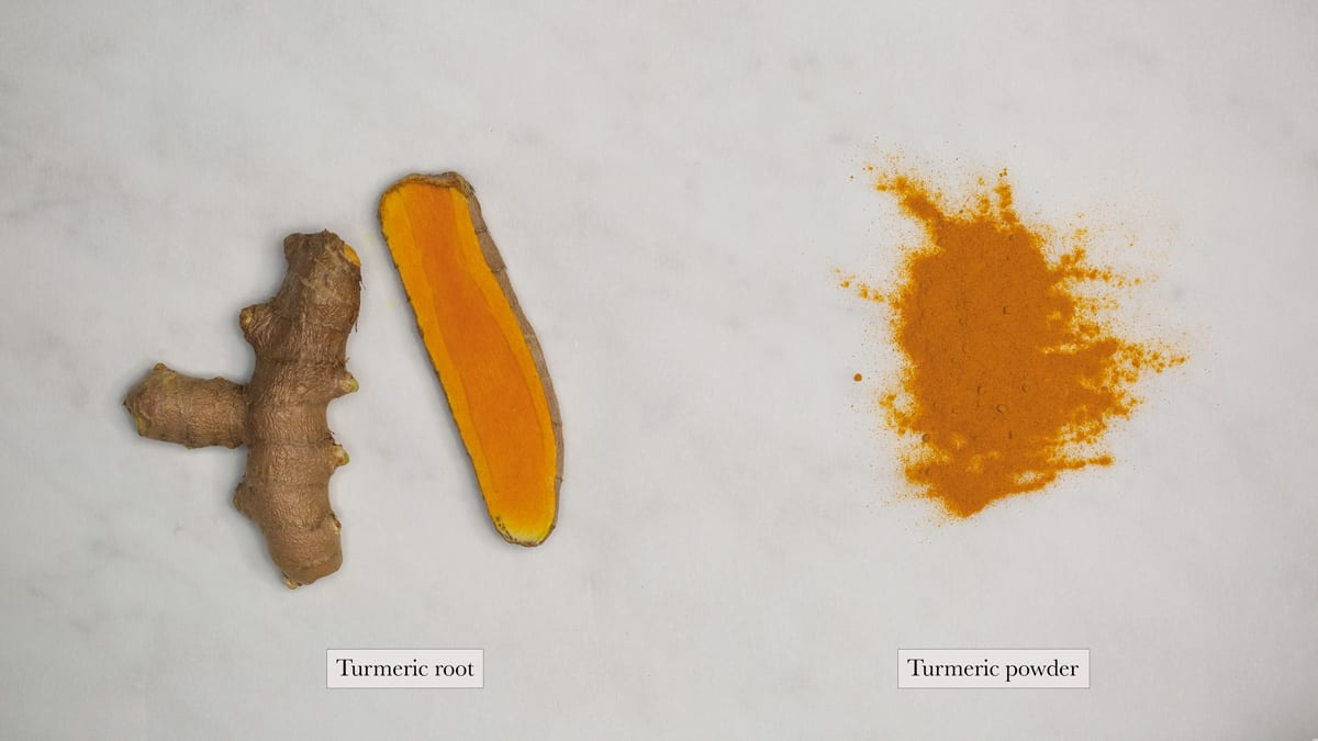 turmeric root and turmeric powder side by side