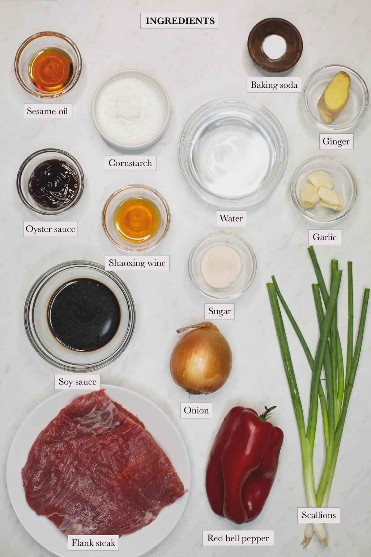 Ingredients include soy sauce, Shaoxing wine, oyster sauce, sugar, cornstarch, sesame oil, water, flank steak, baking soda, onion, red bell pepper, scallions, ginger, and garlic.