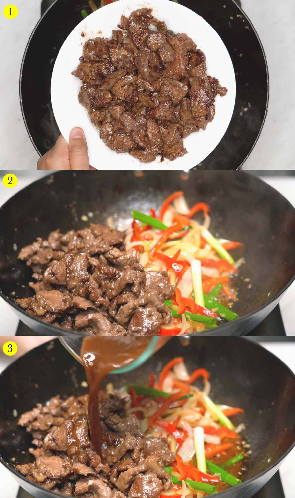 1. Plate of seared meat over the wok. 2. Seared meat in the wok with the vegetables. 3. Pouring the sauce over the meat and vegetables.