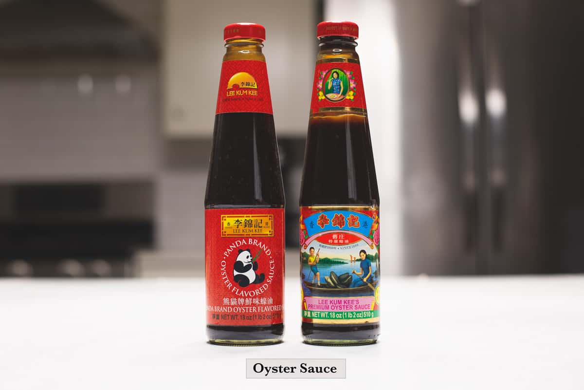 Two different types of bottled oyster sauce.