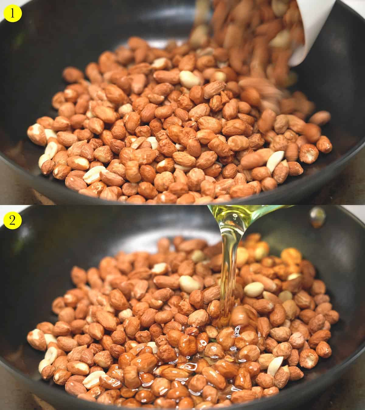 1. Pouring raw, shelled peanuts on a wok.  2. Pouring oil on the raw, shelled peanuts in a wok.