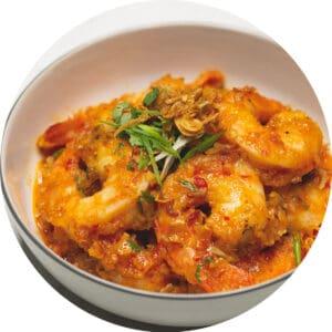 Asian Chili Garlic Shrimp on a serving bowl